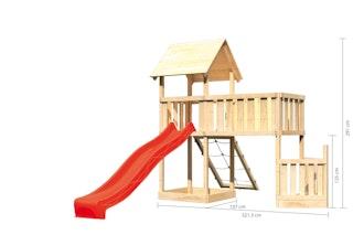 Akubi Kinderspielturm Lotti mit Satteldach inkl. Schiffsanbau unten, Rutsche, Netzrampe und Anbauplattform XL