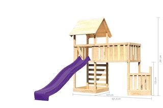 Akubi Kinderspielturm Lotti mit Satteldach inkl. Schiffsanbau unten, Rutsche, Kletterwand und Anbauplattform XL