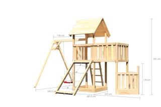 Akubi Kinderspielturm Lotti mit Satteldach inkl. Schiffsanbau unten, Anbauplattform, Einzelschaukelanbau und Netzrampe