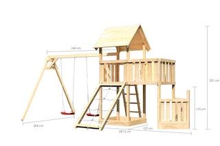 Akubi Kinderspielturm Lotti mit Satteldach inkl. Schiffsanbau unten, Anbauplattform, Doppelschaukelanbau und Netzrampe