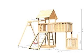 Akubi Kinderspielturm Lotti mit Satteldach inkl. Schiffsanbau unten, Anbauplattform XL, Einzelschaukelanbau und Netzrampe