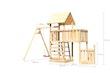 Akubi Kinderspielturm Lotti mit Satteldach inkl. Schiffsanbau unten, Anbauplattform, Einzelschaukelanbau und Kletterwand