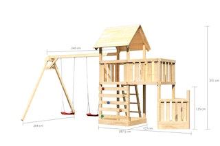Akubi Kinderspielturm Lotti mit Satteldach inkl. Schiffsanbau unten, Anbauplattform, Doppelschaukelanbau und Kletterwand