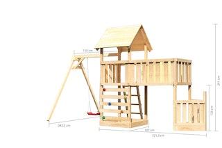 Akubi Kinderspielturm Lotti mit Satteldach inkl. Schiffsanbau unten, Anbauplattform XL, Einzelschaukelanbau und Kletterwand