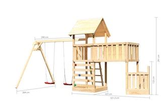 Akubi Kinderspielturm Lotti mit Satteldach inkl. Schiffsanbau unten, Anbauplattform XL, Doppelschaukelanbau und Kletterwand
