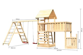 Akubi Kinderspielturm Lotti mit Satteldach inkl. Schiffsanbau unten, Anbauplattform XL, Kletterwand, Doppelschaukelanbau und Klettergerüst