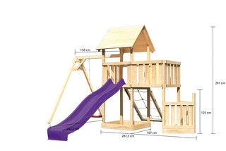 Akubi Kinderspielturm Lotti mit Satteldach inkl. Schiffsanbau unten, Anbauplattform, Einzelschaukelanbau, Wellenrutsche und Netzrampe