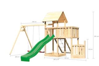 Akubi Kinderspielturm Lotti mit Satteldach inkl. Schiffsanbau unten, Anbauplattform, Doppelschaukelanbau, Wellenrutsche und Netzrampe