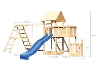 Akubi Kinderspielturm Lotti mit Satteldach inkl. Schiffsanbau unten, Anbauplattform, Doppelschaukelanbau, Klettergerüst, Wellenrutsche und Netzrampe