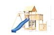 Akubi Kinderspielturm Lotti mit Satteldach inkl. Schiffsanbau unten, Anbauplattform, Einzelschaukelanbau, Wellenrutsche und Kletterwand
