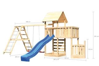 Akubi Kinderspielturm Lotti mit Satteldach inkl. Schiffsanbau unten, Anbauplattform, Doppelschaukelanbau, Klettergerüst, Wellenrutsche und Kletterwand