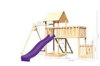Akubi Kinderspielturm Lotti mit Satteldach inkl. Schiffsanbau unten, Anbauplattform XL, Einzelschaukelanbau, Netzrampe und Wellenrutsche