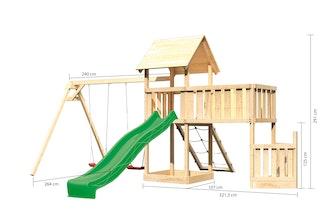 Akubi Kinderspielturm Lotti mit Satteldach inkl. Schiffsanbau unten, Anbauplattform XL, Doppelschaukelanbau, Netzrampe und Wellenrutsche
