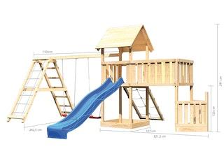Akubi Kinderspielturm Lotti mit Satteldach inkl. Schiffsanbau unten, Anbauplattform XL, Netzrampe, Wellenrutsche, Doppelschaukelanbau und Klettergerüst