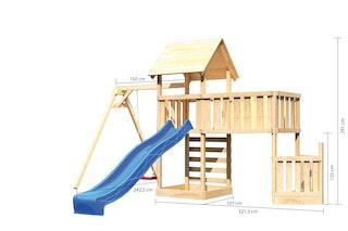 Akubi Kinderspielturm Lotti mit Satteldach inkl. Schiffsanbau unten, Anbauplattform XL, Einzelschaukelanbau, Kletterwand und Wellenrutsche