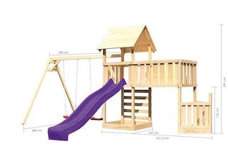 Akubi Kinderspielturm Lotti mit Satteldach inkl. Schiffsanbau unten, Anbauplattform XL, Doppelschaukelanbau, Kletterwand und Wellenrutsche