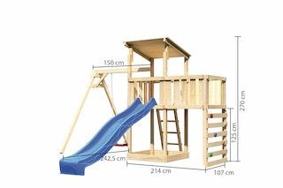 Akubi Kinderspielturm Anna mit Pultdach inkl. Einzelschaukel, Anbauplattform, Wellenrutsche und Kletterwand