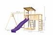 Akubi Kinderspielturm Anna mit Pultdach inkl. Doppelschaukel, Anbauplattform, Wellenrutsche und Kletterwand