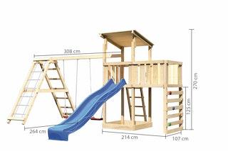 Akubi Kinderspielturm Anna mit Pultdach inkl. Kletterwand, Wellenrutsche, Anbauplattform, Doppelschaukel und Klettergerüst