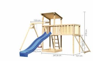 Akubi Kinderspielturm Anna mit Pultdach inkl. Einzelschaukel, Anbauplattform XL, Wellenrutsche und Netzrampe