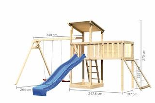 Akubi Kinderspielturm Anna mit Pultdach inkl. Doppelschaukel, Anbauplattform XL, Wellenrutsche und Netzrampe