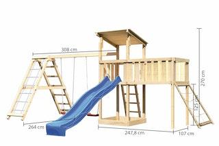 Akubi Kinderspielturm Anna mit Pultdach inkl. Netzrampe, Wellenrutsche, Anbauplattform XL, Doppelschaukel und Klettergerüst