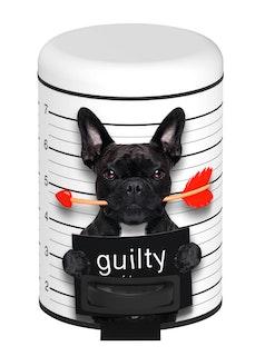 WENKO Kosmetik Treteimer Guilty Dog 3 ltr. Stahl bedruckt