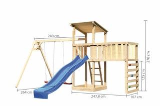 Akubi Kinderspielturm Anna mit Pultdach inkl. Doppelschaukel, Anbauplattform XL, Wellenrutsche und Kletterwand