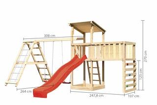 Akubi Kinderspielturm Anna mit Pultdach inkl. Kletterwand, Wellenrutsche, Anbauplattform XL, Doppelschaukel und Klettergerüst