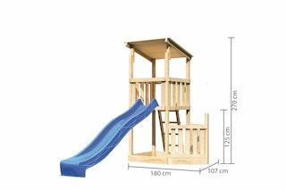 Akubi Kinderspielturm Anna mit Pultdach inkl. Schiffsanbau unten und Wellenrutsche