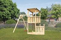 Akubi Kinderspielturm Anna mit Pultdach inkl. Schiffsanbau unten und Einzelschaukel