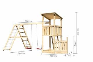 Akubi Kinderspielturm Anna mit Pultdach inkl. Schiffsanbau unten, Doppelschaukel und Klettergerüst