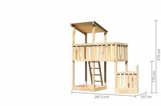 Akubi Kinderspielturm Anna mit Pultdach inkl. Schiffsanbau unten und Anbauplattform