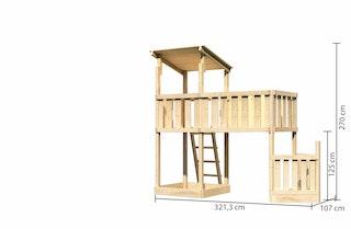 Akubi Kinderspielturm Anna mit Pultdach inkl. Schiffsanbau unten und Anbauplattform XL