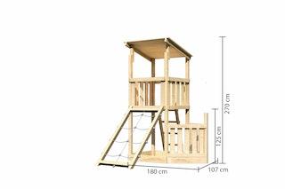Akubi Kinderspielturm Anna mit Pultdach inkl. Schiffsanbau unten und Netzrampe