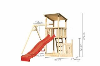 Akubi Kinderspielturm Anna mit Pultdach inkl. Schiffsanbau unten, Wellenrutsche und Einzelschaukel