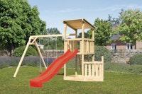 Akubi Kinderspielturm Anna mit Pultdach inkl. Schiffsanbau unten, Wellenrutsche und Doppelschaukel
