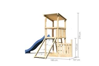 Akubi Kinderspielturm Anna mit Pultdach inkl. Schiffsanbau unten, Netzrampe und Wellenrutsche