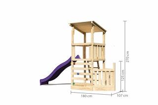 Akubi Kinderspielturm Anna mit Pultdach inkl. Schiffsanbau unten, Kletterwand und Wellenrutsche