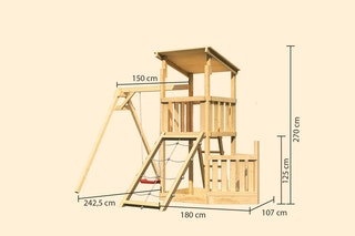 Akubi Kinderspielturm Anna mit Pultdach inkl. Schiffsanbau unten, Netzrampe und Einzelschaukel