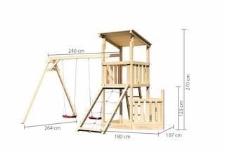 Akubi Kinderspielturm Anna mit Pultdach inkl. Schiffsanbau unten, Netzrampe und Doppelschaukel