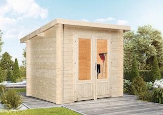 Wolff Finnhaus Gartenhaus Flachdachhaus Lüttich XS - Aktionsmodell inkl. gratis Fundamentanker/Pads