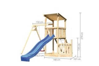 Akubi Kinderspielturm Anna mit Pultdach inkl. Schiffsanbau unten, Wellenrutsche, Netzrampe und Einzelschaukel