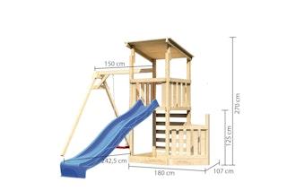 Akubi Kinderspielturm Anna mit Pultdach inkl. Schiffsanbau unten, Wellenrutsche, Kletterwand und Einzelschaukel