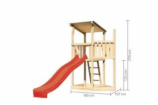 Akubi Kinderspielturm Anna mit Pultdach inkl. Schiffsanbau oben und Wellenrutsche