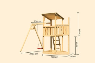 Akubi Kinderspielturm Anna mit Pultdach inkl. Schiffsanbau oben und Einzelschaukel