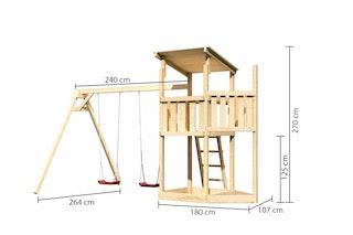 Akubi Kinderspielturm Anna mit Pultdach inkl. Schiffsanbau oben und Doppelschaukel