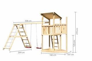 Akubi Kinderspielturm Anna mit Pultdach inkl. Schiffsanbau oben, Doppelschaukel und Klettergerüst