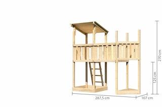 Akubi Kinderspielturm Anna mit Pultdach inkl. Schiffsanbau oben und Anbauplattform