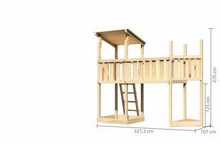 Akubi Kinderspielturm Anna mit Pultdach inkl. Schiffsanbau oben und Anbauplattform XL